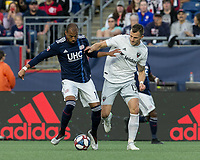 Foxborough, MA - May 25, 2019: Teal Bunbury (#10), Frederic Brillant (#13) First half action. In a Major League Soccer (MLS) match, New England Revolution (blue/white) vs D.C. United (white), at Gillette Stadium on May 25, 2019 in Foxborough, MA. (Photo by Andrew Katsampes/ISI Photos).
