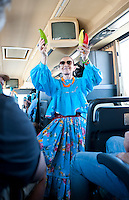 Patricia Quintana on the bus traveling through Chihuahua, Mexico. Aromas y Sabores with Chef Patricia Quintana