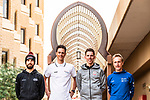 Nacer Bouhanni (FRA) Team Arkea Samsic, Niki Terpstra (NED) Team Total Direct Energie, Rui Costa (POR) UAE Team Emirates and Enrico Gasparotto (ITA) NTT Pro Cycling at the top riders press conference before the start of the Saudi Tour 2020 held in Riyadh, Saudi Arabia. 3rd February 2020. <br /> Picture: ASO/Kåre Dehlie Thorstad | Cyclefile<br /> All photos usage must carry mandatory copyright credit (© Cyclefile | ASO/Kåre Dehlie Thorstad)