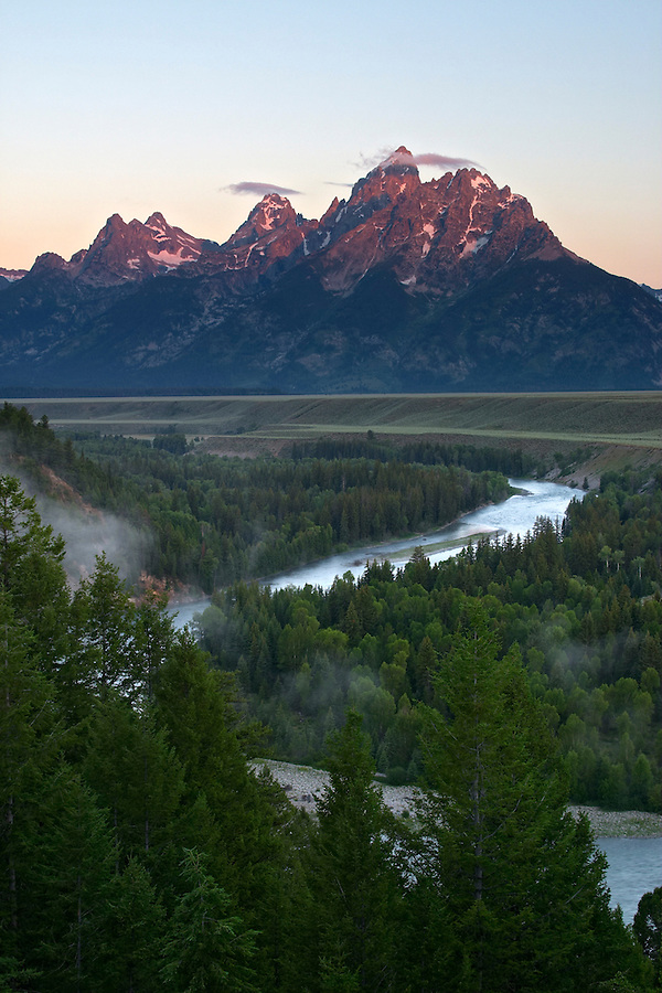 The Snake River winds below the Grand Teton in early morning, Snake River Overlook, Grand Teton National Park, Teton County, Wyoming, USA