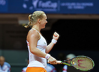 Arena Loire,  Trélazé,  France, 16 April, 2016, Semifinal FedCup, France-Netherlands, Kiki Bertens (NED) wins the match and puts the Netherlands in a 2-1 lead.<br /> Photo: Henk Koster/Tennisimages