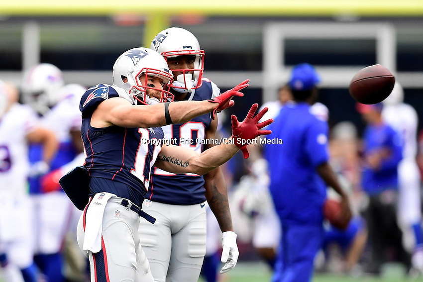 Sunday, October 2, 2016: New England Patriots wide receiver Julian Edelman (11) and wide receiver Malcolm Mitchell (19) prepare for the NFL game between the Buffalo Bills and the New England Patriots held at Gillette Stadium in Foxborough Massachusetts. Buffalo defeats New England 16-0. Eric Canha/Cal Sport Media