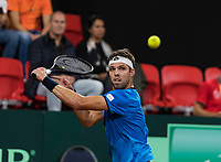 The Hague, The Netherlands, September 17, 2017,  Sportcampus , Davis Cup Netherlands - Chech Republic, Third match :Jiri Vesely (CZE)<br /> Photo: Tennisimages/Henk Koster