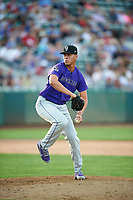 Relief pitcher Ever Moya (25) of the Grand Junction Rockies delivers a pitch to the plate against the Ogden Raptors at Lindquist Field on June 14, 2019 in Ogden, Utah. The Raptors defeated the Rockies 12-0. (Stephen Smith/Four Seam Images)