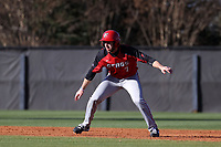 GREENSBORO, NC - FEBRUARY 25: Mike Handal #7 of Fairfield University takes a lead off of second base during a game between Fairfield and UNC Greensboro at UNCG Baseball Stadium on February 25, 2020 in Greensboro, North Carolina.