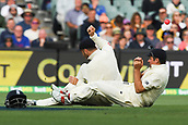 3rd December 2017, Adelaide Oval, Adelaide, Australia; The Ashes Series, Second Test, Day 2, Australia versus England; James Vince and Alistair Cook of England collide whilst diving for the ball
