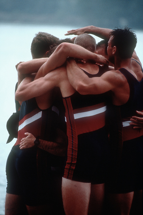 Rowing, US rowers celebrating victory, World Rowing Championships, Lac Aiguebelette, France, Europe, 1997.