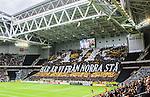 Stockholm 2015-05-25 Fotboll Allsvenskan Djurg&aring;rdens IF - AIK :  <br /> AIK:s supportrar med ett tifo i Tele2 Arena inf&ouml;r matchen mellan Djurg&aring;rdens IF och AIK <br /> (Foto: Kenta J&ouml;nsson) Nyckelord:  Fotboll Allsvenskan Djurg&aring;rden DIF Tele2 Arena AIK Gnaget supporter fans publik supporters inomhus interi&ouml;r interior