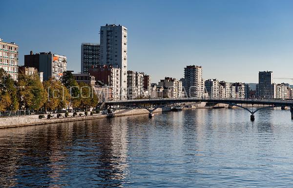 Highrise buildings on the Quai Edouard Van Beneden and Quai de Gaulle banks along the Meuse river in Liège (Belgium, 30/09/2011)