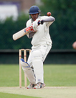 R Chadha bats for Shepherds Bush during the Middlesex County League Division two game between Shepherds Bush and Hornsey at Bromyard Avenue, East Acton on Sat July 23, 2011
