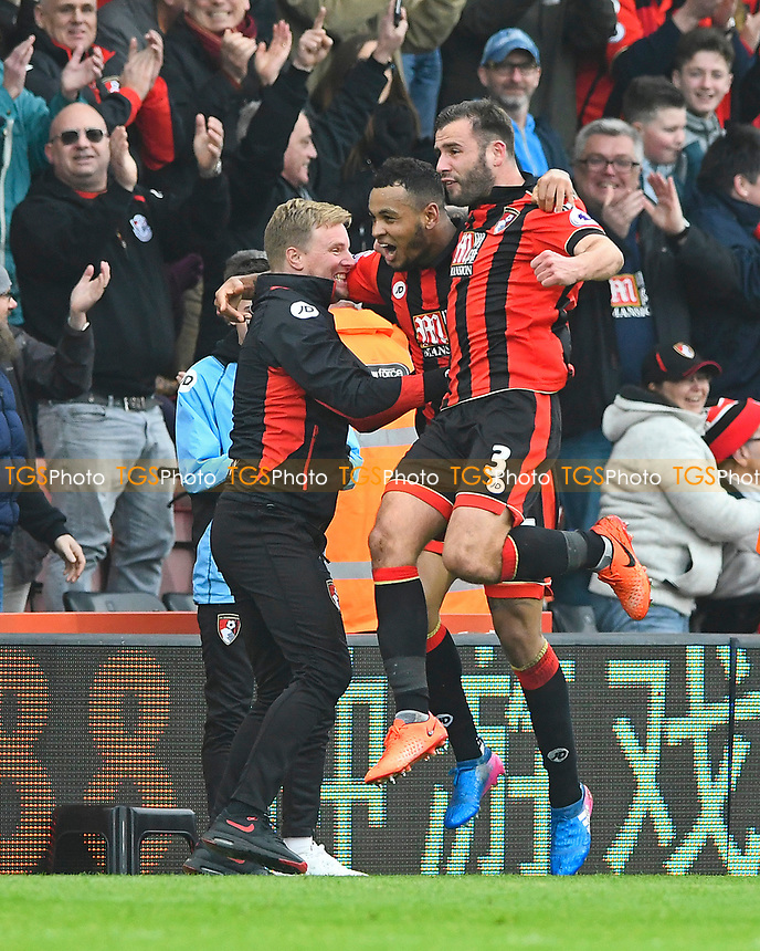 AFC Bournemouth Manager Eddie Howe left celebrates with Joshua King and Steve Cook after the third goal during AFC Bournemouth vs West Ham United, Premier League Football at the Vitality Stadium on 11th March 2017