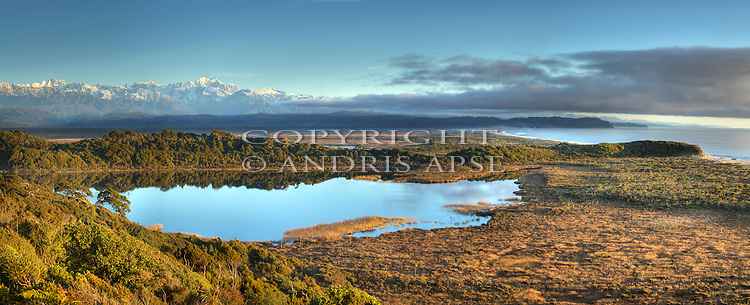 Lake Windermere and the Southern Alps. Westland Region. New Zealand.