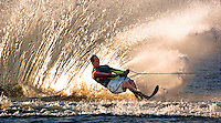 A water skier leaves a wonderous wall of water in his wake as he entertains the crowd on Lake Lloyd during the 47th annual Daytona 500 at Daytona International Speedway in Daytona Beach, Fl.