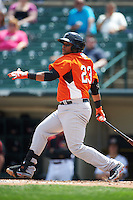 Norfolk Tides catcher Rossmel Perez (23) at bat during a game against the Rochester Red Wings on May 3, 2015 at Frontier Field in Rochester, New York.  Rochester defeated Norfolk 7-3.  (Mike Janes/Four Seam Images)