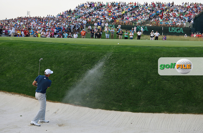 Dustin JOHNSON (USA) bunker shot at 17th during fourth round 116th US Open 2016 ,Oakmont Country Club, Pittsburgh,Pennsylvania,USA.