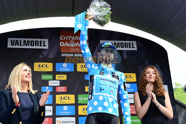 Dario Cataldo (ITA) Astana Pro Team retains the mountains the Polka Dot Jersey at the end of Stage 5 of the 2018 Criterium du Dauphine 2018 running 130km from Grenoble to Valmorel, France. 8th June 2018.<br /> Picture: ASO/Alex Broadway | Cyclefile<br /> <br /> <br /> All photos usage must carry mandatory copyright credit (© Cyclefile | ASO/Alex Broadway)