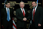 """US Senator Joe Lieberman (C) and MK Avigdor Lieberman leader of the Yisrael Beiteinu Party (R),  shake hands after a joint press conference in Jerusalem, Sunday, February 22, 2009. Avigdor Lieberman's party ran a controversial campaign that drew charges of racism, but they have all but assured an important role in the new Israeli government, due to their becoming the third-largest party in Israel's parliament. The US senator Joe Lieberman said that """"based on his success in the elections,"""" it was vital to become familiar with the Ysrael Beiteinu head. Photo By: Daniel Bar-On / JINI"""