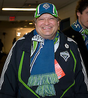 Drew Carey is all smiles as his team wins at BMO Field in Toronto on April 4, 2009. The final score was 2-0 for Seattle Sounders FC. Photo by Nick Turchiaro/isiphotos.com.