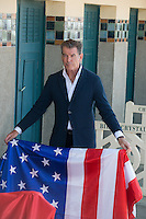 Pierce Brosnan unveils his cabin sign during the 40th Deauville American Film Festival - France