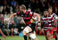 Dominic Bird offloads during the Mitre 10 Cup Premiership and Ranfurly Shield match between Canterbury and Counties Manukau at AMI Stadium in Christchurch, New Zealand on Wednesday, 13 September 2017. Photo: Martin Hunter / lintottphoto.co.nz