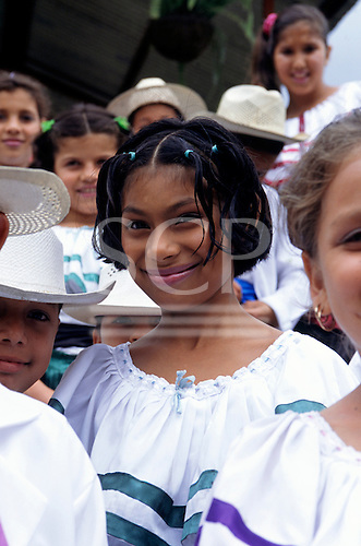 Costa Rica. Girls and boys in national costume at a festival.