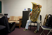 Lee MacDowell, a musician with Navy Band Northeast, traveled to the Tuba Exchange in Durham, N.C., on his own time to find the right tuba for his very specific needs.