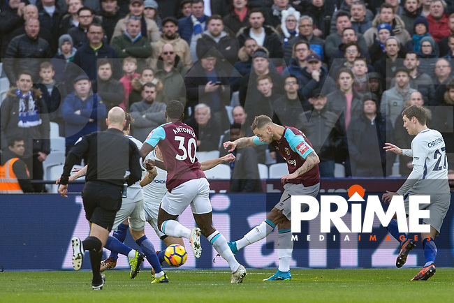 Marko Arnautovic of West Ham United scores the winning goal during the Premier League match between West Ham United and Chelsea at the Olympic Park, London, England on 9 December 2017. Photo by Andy Rowland.