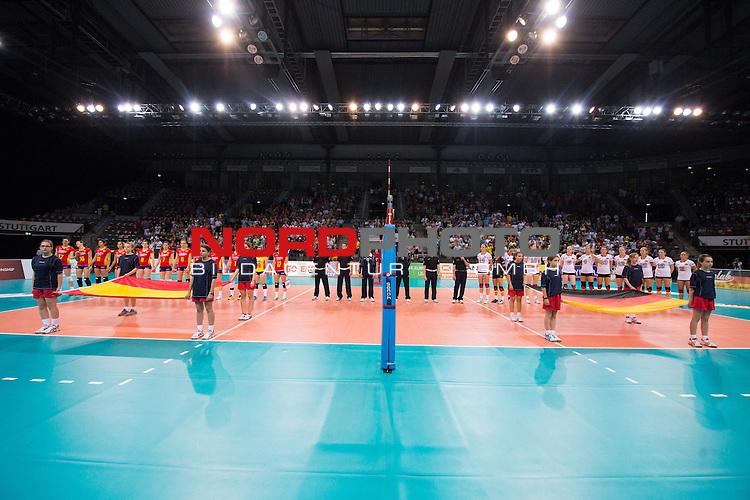 07.06.2014, Porsche Arena, Stuttgart<br /> Volleyball, European League 2014, Deutschland vs. Spanien<br /> <br /> Teams vor dem Spiel / waehrend Hymne<br /> <br />   Foto &copy; nordphoto / Kurth