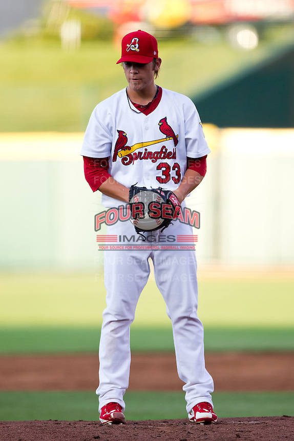 Michael Blazek (33) of the Springfield Cardinals on the mound during a game against the Tulsa Drillers at Hammons Field on July 19, 2011 in Springfield, Missouri. Tulsa defeated Springfield 17-11. (David Welker / Four Seam Images)