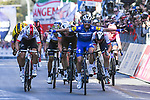 Julian Alaphilippe (FRA) Deceuninck-Quick Step wins with Oliver Naesen (BEL) AG2R La Mondiale 2nd and Michal Kwiatkowski (POL) Team Sky in 3rd place at the end of the 110th edition of Milan-San Remo 2019 running 291km from Milan to San Remo, Italy. 23rd March 2019.<br /> Picture: LaPresse/Gian Matteo D'Alberto | Cyclefile<br /> <br /> <br /> All photos usage must carry mandatory copyright credit (&copy; Cyclefile | LaPresse/Gian Matteo D'Alberto)