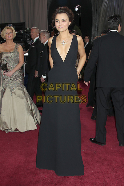 Samantha Barks.85th Annual Academy Awards held at the Dolby Theatre at Hollywood & Highland Center, Hollywood, California, USA..February 24th, 2013.oscars full length black sleeveless dress plunging neckline cleavage .CAP/ADM/RE.©Russ Elliot/AdMedia/Capital Pictures.