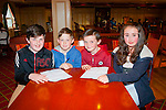 Question 1<br /> --------------<br /> Community games Kerry quiz finalists representing Ballymac were L-R Adam O'Keeffe,Dylon Barry,Declan Mangan&amp;Cathy Palmer in the RiverIsland hotel Castleisland on Good Friday last