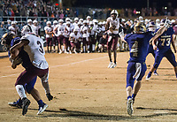 NWA Democrat-Gazette/BEN GOFF @NWABENGOFF<br /> Mike Hesson (4), Booneville defender, begins to celebrate as Cam Brasher of Booneville intercepts a pass intended for Cameron Cox (3) of Prescott with 8 seconds remaining in the game Saturday, Dec. 1, 2018, during the class 3A state semifinal game at Bearcat Stadium in Booneville.