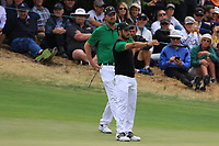 Abraham Ancer (International) and Marc Leishman (International) on the 3rd green during the Second Round - Foursomes of the Presidents Cup 2019, Royal Melbourne Golf Club, Melbourne, Victoria, Australia. 13/12/2019.<br /> Picture Thos Caffrey / Golffile.ie<br /> <br /> All photo usage must carry mandatory copyright credit (© Golffile | Thos Caffrey)