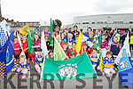 The flag bearers line up at the start at the Killarney Féile parade on Saturday evening