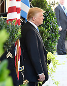 United States President Donald J. Trump waits to welcome Prime Minister Alexis Tsipras of Greece to the White House in Washington, DC on Tuesday, October 17, 2017.<br /> Credit: Ron Sachs / CNP