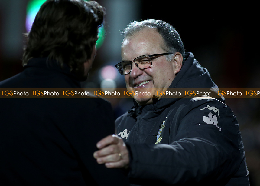 Leeds United Manager, Marcelo Bielsa shakes hands with Brentford Head Coach, Thomas Frank, ahed of kick-off during Brentford vs Leeds United, Sky Bet EFL Championship Football at Griffin Park on 11th February 2020