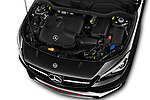Car stock 2018 Mercedes Benz CLA Shooting Brake Sport 5 Door Wagon engine high angle detail view