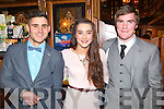 Denis McElligott, Sarah Hobbert and Greg Horan pictured at the Stacks social in the Meadowlands Hotel, Tralee on Saturday night.