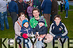 Milltown/Castlemaine captain Mike Burke with his family l-r: Ailis, Darragh, Fiannán and Cillian after they defeated Keel in the Mid Kerry final in Killorglin on Sunday