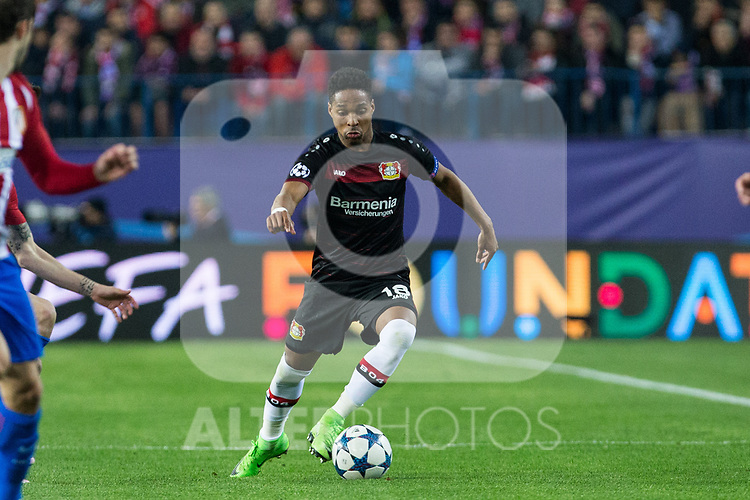Wendell Nascimento of Bayer 04 Leverkusen during the match of Uefa Champions League between Atletico de Madrid and Bayer Leverkusen at Vicente Calderon Stadium  in Madrid, Spain. March 15, 2017. (ALTERPHOTOS / Rodrigo Jimenez)