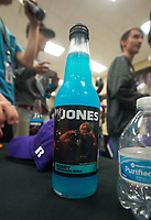 NWA Democrat-Gazette/BEN GOFF @NWABENGOFF<br /> A soda bottle with a picture of Donte Jones, Bentonville football player, after Jones signed his national letter of intent to play at Central Arkansas, Wednesday, Feb. 6, 2019, during a signing ceremony at Bentonville's Tiger Arena.