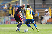 Rhys Murrell-Williamson of St Albans runs at Scott Cuthbert of Stevenage during St Albans City vs Stevenage, Friendly Match Football at Clarence Park on 13th July 2019