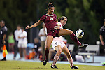 27 September 2012: Florida State's Carson Pickett (16) and UNC's Kat Nigro (9). The University of North Carolina Tar Heels played the Florida State University Seminoles at Fetzer Field in Chapel Hill, North Carolina in a 2012 NCAA Division I Women's Soccer game. Florida State won the game 1-0.
