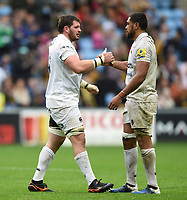 James Phillips and Taulupe Faletau of Bath Rugby after the final whistle. Aviva Premiership match, between Wasps and Bath Rugby on October 1, 2017 at the Ricoh Arena in Coventry, England. Photo by: Patrick Khachfe / Onside Images