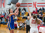 WINSTED,  CT-021119JS20- Housatonic's Sydney Segalla (13) puts up a shot over Northwestern's Jana Sanden (23) during their Berkshire League game Monday at Northwestern. <br /> Jim Shannon Republican American