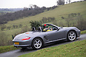 12/12/16<br /> <br /> A driver makes her way up the valley overlooking Thorpe Cloud and Dovedale, making the most of the unseasonably warm weather by taking the roof down to fit her Christmas tree in a Porsche Boxster in the Derbyshire Peak District.<br /> <br /> All Rights Reserved F Stop Press Ltd. (0)1773 550665   www.fstoppress.com