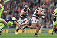 Bryn Evans of Sale Sharks attempts a last ditch tackle on Ellis Genge of Leicester Tigers. Aviva Premiership match, between Leicester Tigers and Sale Sharks on April 29, 2017 at Welford Road in Leicester, England. Photo by: Patrick Khachfe / JMP