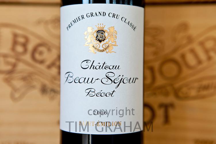 Fine wine Chateau Beau-Sejour Becot 2006 vintage Premier Grand Cru Classe at St Emilion in the Bordeaux wine region of France