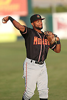 Gianfranco Wawoe (19) of the Modesto Nuts throws before a game against the Lancaster JetHawks at The Hanger on September 13, 2017 in Lancaster, California. Modesto defeated Lancaster, 8-5. (Larry Goren/Four Seam Images)